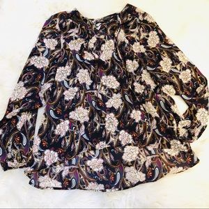 The Limited Boho Paisley Floral Peasant Blouse